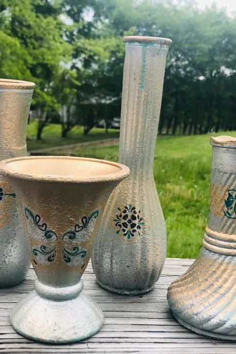 Boho Inspired - Set of 4 - Mismatched Bud Vases - Textured - Butterfly - Silver - Gold - Sea Mist Green